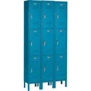 Paramount® Locker 3 Tier 12 X 15 X 24 9 Door Assembled Blue