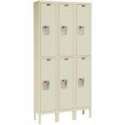 Hallowell U3226-2A-PT Premium Locker Double Tier 12x12x30 6 Door Assembled Parchment