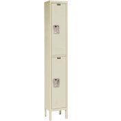 Hallowell U1228-2A-PT Premium Locker Double Tier 12x12x36 2 Door Assembled Parchment