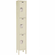 Hallowell U1258-3A-PT Premium Locker Triple Tier 12x15x24 3 Door Assembled Parchment