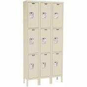 Hallowell U3258-3A-PT Premium Locker Triple Tier 12x15x24 - 9 Door Assembled - Tan