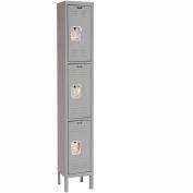 Hallowell U1288-3A-HG Premium Locker Triple Tier 12x18x24 3 Door Assembled - Dark Gray