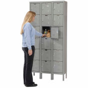 Hallowell U3228-6A-HG Premium Locker Six Tier 12x12x12 18 Door Assembled - Dark Gray