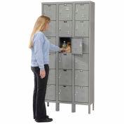 Hallowell U3258-6A-HG Premium Locker Six Tier 12x15x12 18 Door Assembled Gray