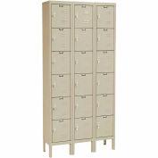 Hallowell U3258-6A-PT Premium Locker Six Tier 12x15x12 18 Door Assembled Parchment