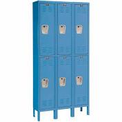 Hallowell U3228-2A-MB Premium Locker Double Tier 12x12x36 6 Door Assembled Blue