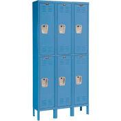 Hallowell U3288-2A-MB Premium Locker Double Tier 12x18x36 6 Door Assembled Blue