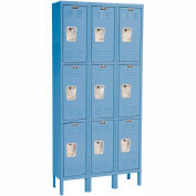 Hallowell U3258-3A-MB Premium Locker Triple Tier 12x15x24 9 Door Assembled Blue
