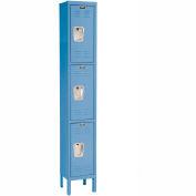 Hallowell U1288-3A-MB Premium Locker Triple Tier 12x18x24 3 Door Assembled Blue