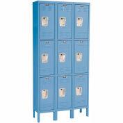 Hallowell U3288-3A-MB Premium Locker Triple Tier 12x18x24 9 Door Assembled Blue