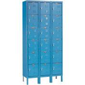 Hallowell U3258-6A-MB Premium Locker Six Tier 12x15x12 18 Door Assembled Blue