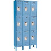 Hallowell U3228-3MB Premium Locker Triple Tier 12x12x24 9 Door Ready To Assemble Blue
