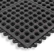 Cushion Modular Matting 5/8 Inch Thick 3' X 3' Drainage With Grit Black