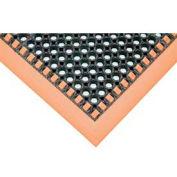 Hi-Visibility Safety Drainage Matting With Grit Top 4-Sided Border 40x124 Orange