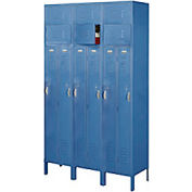 Penco 6501V-3806-KD VanGuard Two Person Locker 15x15x72 Ready To Assembled 3 Wide Marine Blue