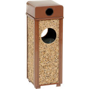 "Global™ Stone Panel Trash Weather Urn Brown 10-1/4"" Square X 28""H"