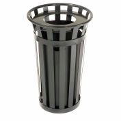 Global Industrial™ Outdoor Slatted Steel Trash Can With Liner, 24 Gallon, Black