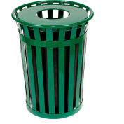 Global Industrial™ Outdoor Slatted Steel Trash Can With Liner, 36 Gallon, Green