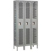 Hallowell U3228-1HDV-HG Heavy-Duty Ventilated Locker Single Tier 12x12x72 3 Door Unassembled