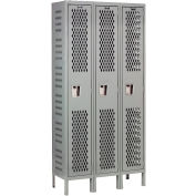 Hallowell U3588-1HV-A-HG Heavy-Duty Ventilated Locker Single Tier 15x18x72 3 Door Assembled