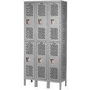 Hallowell U3288-2HV-A-HG Heavy-Duty Ventilated Locker Double Tier 12x18x36  6 Door Assembled