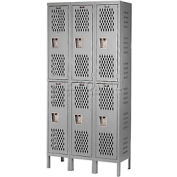 Hallowell U3588-2HV-A-HG Heavy-Duty Ventilated Locker Double Tier 15x18x36 6 Door Assembled - Gray