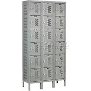 Hallowell U3228-6HV-A-HG Heavy-Duty Ventilated Locker Six Tier 12x12x12 18 Door Assembled