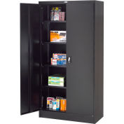 "Global™ Steel Storage Cabinet Recessed Handle 36""W x 18""D x 72""H Black Easy Assembly"
