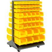 Mobile Double Sided Floor Rack With 24 Akrobins 36x54