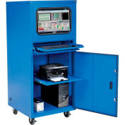 Global Industrial™ Deluxe Mobile Security Computer Cabinet, Blue, Assembled
