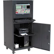 Global Industrial™ Deluxe Mobile Security Computer Cabinet, Black, Assembled