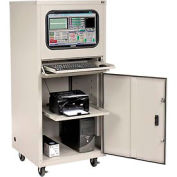 Deluxe Mobile Security Computer Cabinet - Gray - Assembled