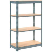 "Heavy Duty Shelving 48""W x 12""D x 72""H With 4 Shelves - Wood Deck - Gray"