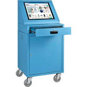 LCD Mobile Console Computer Cabinet - Blue