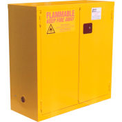 "Global&#8482 Flammable Cabinet - Manual Close Double Door 28 Gallon - 34""W x 18""D x 44""H"
