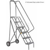 4 Step Steel Roll and Fold Rolling Ladder - Grip Strut Tread
