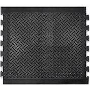 "Modular Diamond Top Rubber Matting Center Tile 1/2"" Thick 28""X31"" Black"