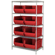 "Quantum WR5-955 Chrome Wire Shelving With 8 24""D Bins Red, 42x24x74"