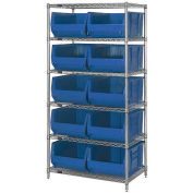 "Quantum WR6-954 Chrome Wire Shelving With 10 24""D Bins Blue, 36x24x74"