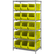 """Quantum WR6-954 Chrome Wire Shelving With 10 24""""D Bins Yellow, 36x24x74"""