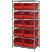 """Quantum WR6-954 Chrome Wire Shelving With 10 24""""D Bins Red, 36x24x74"""