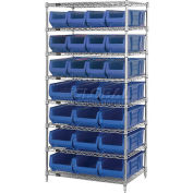 "Quantum WR8-950952 Chrome Wire Shelving With 24 24""D Bins Blue, 36x24x74"