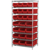 "Quantum WR8-950952 Chrome Wire Shelving With 24 24""D Bins Red, 36x24x74"