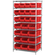 "Quantum WR7-20MIx Chrome Wire Shelving With 20 24""D Bins Red, 36x24x74"