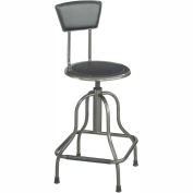 Safco High Base Stool with Backrest - Steel - Silver
