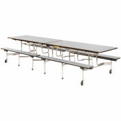 "Virco® Cafeteria Table with Benches - 120""L - Gray Nebula Top"