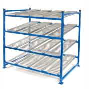 """UNEX Flow Cell Heavy Duty Gravity Rack Starter 72""""W x 72""""D x 72""""H with 4 Levels"""