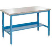 "60""W x 30""D Production Workbench - Stainless Steel Square Edge - Blue"