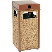 """Global Industrial™ Stone Panel Trash Weather Urn Brown 13-1/2"""" Square X 35""""H"""