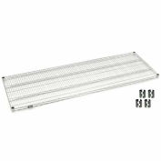 "Nexel S2448S Stainless Steel Wire Shelf 48""W x 24""D with Clips"
